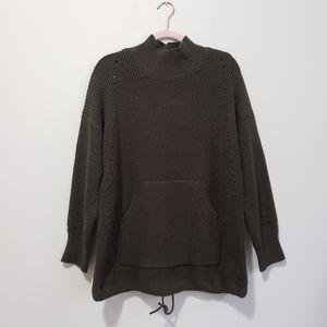 RDI oversized knit mock neck sweater with pocket